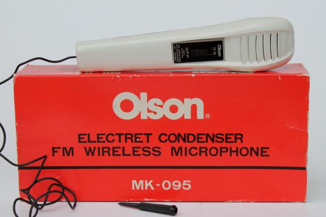 vintage Olson FM wireless microphone MK095, retro battery operated mic