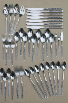 vintage Oneida Spanish Court stainless flatware, retro mod 60s 70s silverware