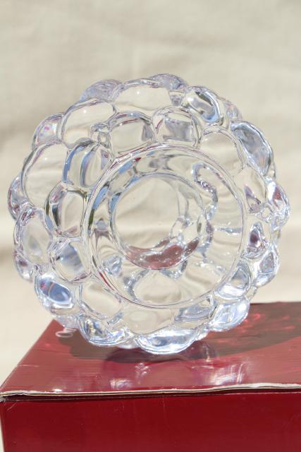 vintage Orrefors crystal large raspberry votive candle holder, original box Anne Nilsson