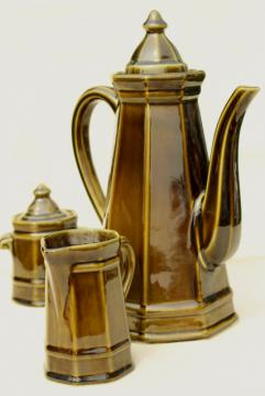 vintage Pfaltzgraff Heritage tall mod coffee pot, cream & sugar set, retro olive green