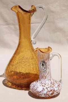 vintage Pilgrim art glass pitchers, hand blown amber crackle glass, mottled white