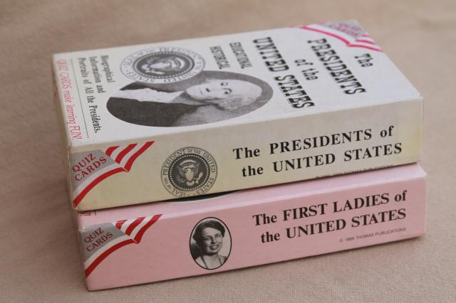 vintage Presidents / First Ladies flash cards, US history quiz card trivia game