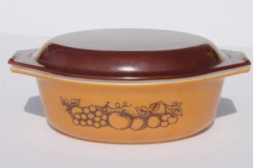 vintage Pyrex Old Orchard brown & mustard gold fruit oval casserole dish w/ lid