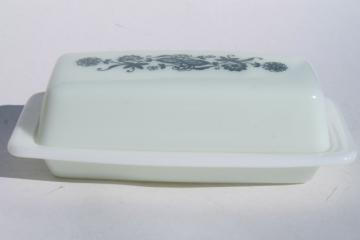 vintage Pyrex Old Town blue & white glass butter dish, plate w/ cover