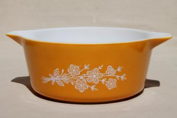 vintage Pyrex butterfly gold large casserole, deep bowl baking dish