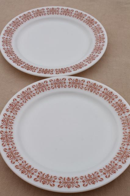 vintage Pyrex copper filigree pattern dinner plates retro milk glass dishes & vintage Pyrex copper filigree pattern dinner plates retro milk ...