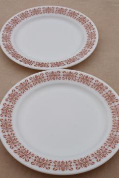 vintage Pyrex copper filigree pattern dinner plates, retro milk glass dishes