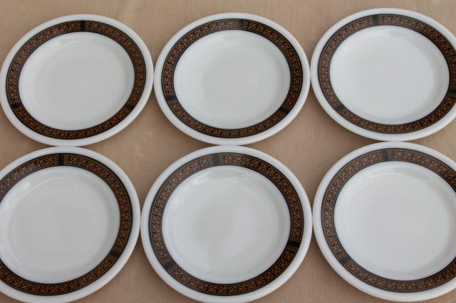 vintage Pyrex dinnerware milk white glass plates w/ black u0026 gold gothic fleur de lis border & vintage Pyrex dinnerware milk white glass plates w/ black u0026 gold ...