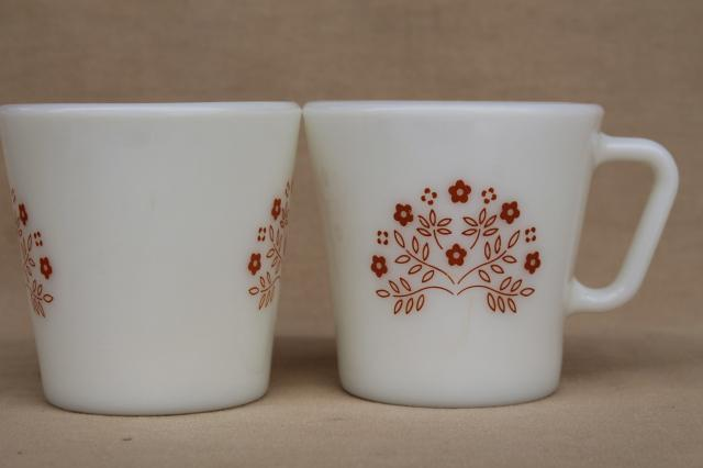 Vintage Pyrex Gl Coffee Mugs Summer Impressions Fl In Ginger Orange Brown