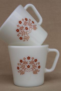 vintage Pyrex glass coffee mugs, Summer impressions floral in ginger orange brown