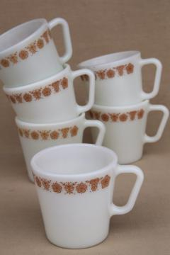 vintage Pyrex heavy milk glass coffee cups, Corelle butterfly gold mugs