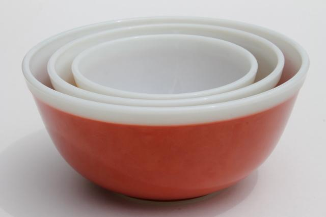 Pyrex nesting bowls, white rim band solid colors Americana harvest ...
