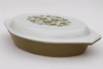 vintage Pyrex spring blossom green crazy daisy divided oval casserole w/ print lid