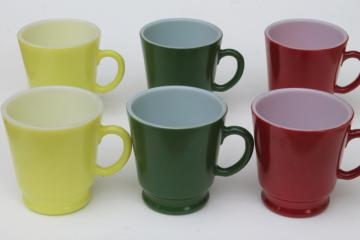 vintage Pyrex type kitchen glass cups, set of Hazel Atlas small coffee mugs in retro colors