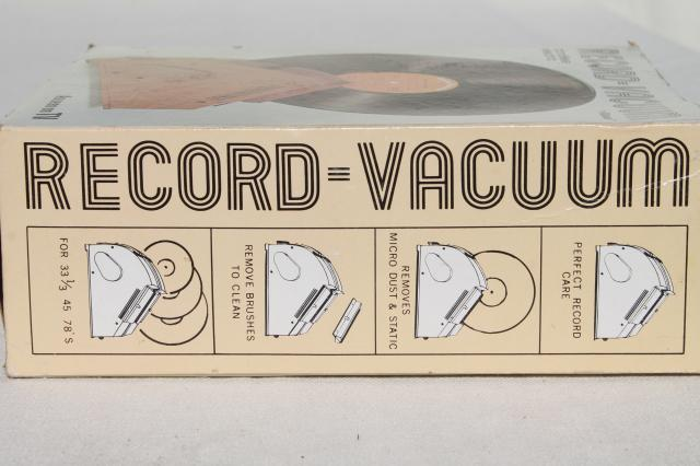 vintage Ronco record vacuum, cordless battery operated cleaner for vinyl records, LPs