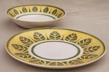 vintage Royal ironstone china mod green palm leaf pattern bowl & sandwich tray plate