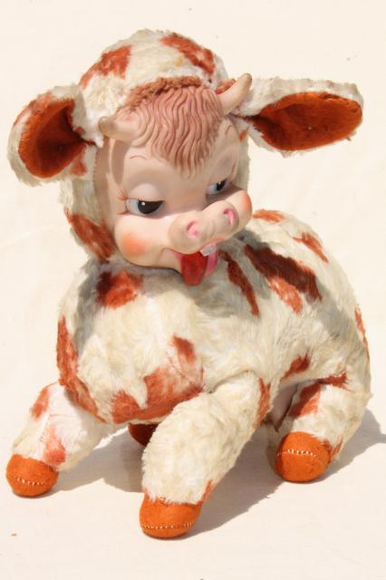 vintage Rushton rubber face toy, Bessie silly cow toothy grin calf, kitschy retro stuffed animal