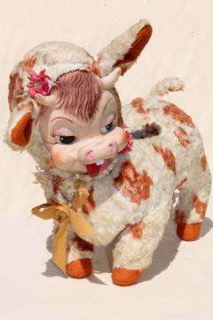 vintage Rushton rubber face toy, Daisy silly cow toothy grin calf, kitschy retro stuffed animal