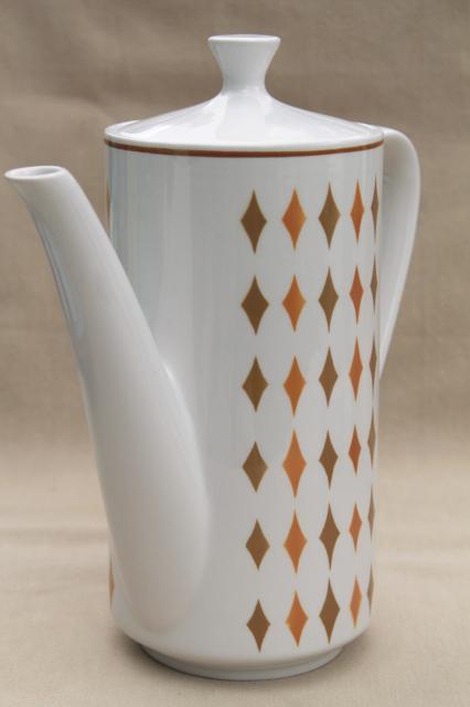 Vintage Safari Mikasa Cera Stone Japan Ceramic Coffee Pot Mod Harlequin Diamonds Pattern