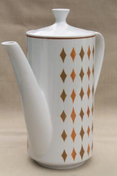 vintage Safari Mikasa Cera-Stone Japan ceramic coffee pot, mod harlequin diamonds pattern