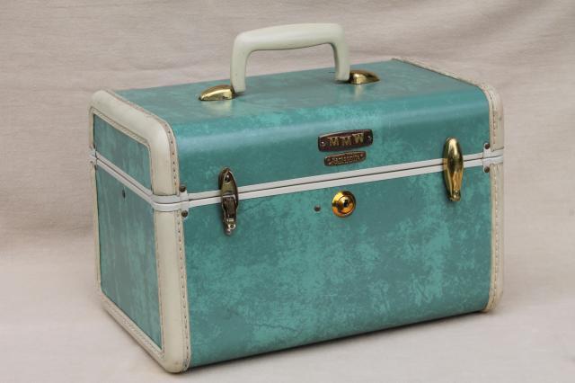 Vintage Samsonite Luggage Vanity Train Case Makeup Kit W Mirror
