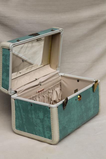 vintage samsonite luggage vanity train case makeup kit w mirror box bag suitcase. Black Bedroom Furniture Sets. Home Design Ideas