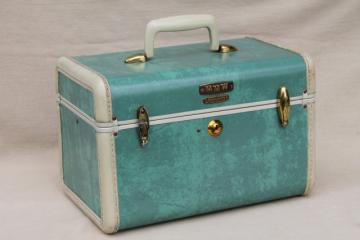 vintage Samsonite luggage, vanity train case makeup kit w/ mirror, box bag suitcase