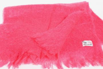 vintage Scotland hand woven fluffy mohair wool scarf bright azalea pink!