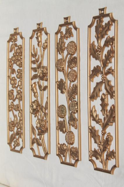 vintage sexton wall plaques four seasons of flowers metal. Black Bedroom Furniture Sets. Home Design Ideas