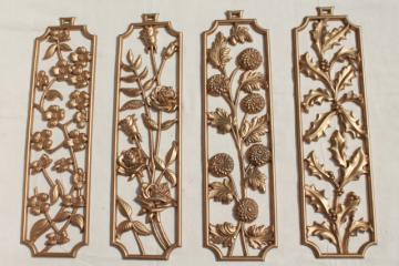 vintage Sexton wall plaques, four seasons of flowers metal art plaque hangings