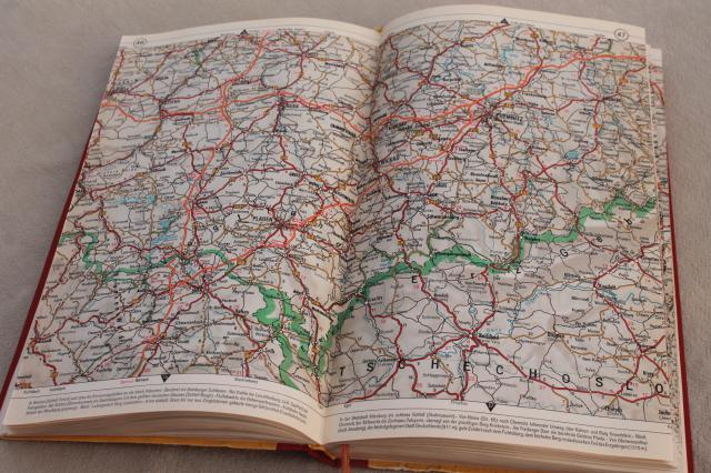 vintage Shell auto atlas book of road maps Germany & Europe, 70s?