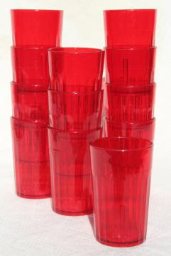 vintage Silite red plastic unbreakable drinking glasses, small 4 oz tumblers