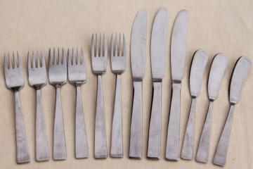vintage Sola stainless steel flatware, Euro mod style silverware made in Holland
