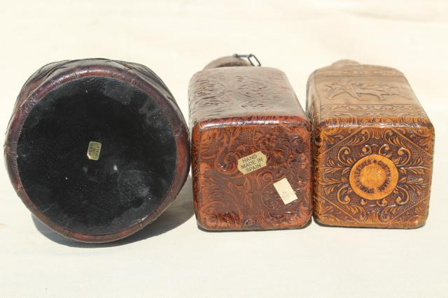 vintage Spanish & Italian leather covered decanter bottles, medieval renaissance gothic style