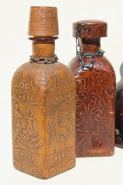Vintage Spanish Amp Italian Leather Covered Decanter Bottles
