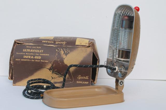 vintage Sperti P103 sunlamp, 1950s machine age portable  UV tanning light