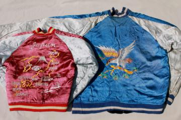 vintage Sukajan embroidered satin jacket souvenirs, Japan map, tiger, dragon, eagle