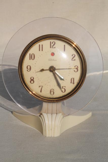 vintage Telechron electric clock, art deco machine age modern lucite disk frame