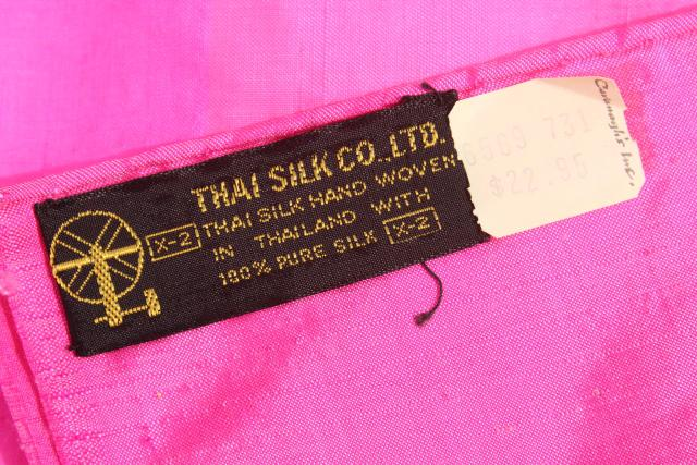 vintage Thai silk shantung fabric scarf or wrap, shocking pink / fuchsia
