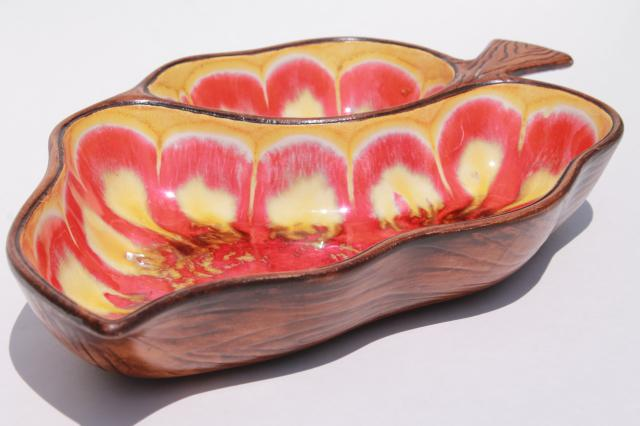 vintage Treasure Craft USA ceramic leaf dish, wood grain w/ psychedelic drip glaze!