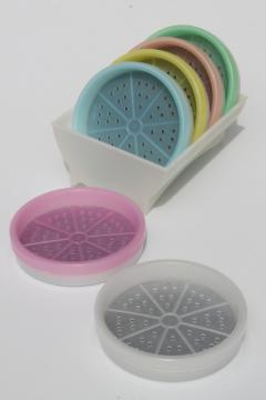 vintage Tupperware pastels coasters, pastel plastic wagon wheel coaster set