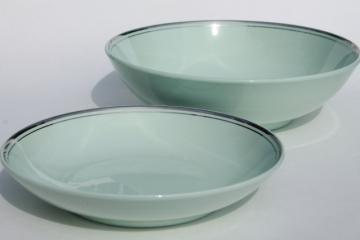 vintage Universal pottery Ballerina Mist green platinum silver trim bowls