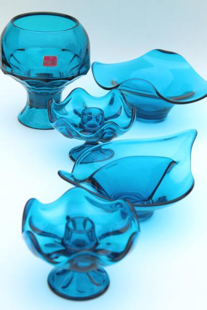 Vintage Viking Bluenique Aqua Blue Art Gl Collection Bowls Candle Holders Vase