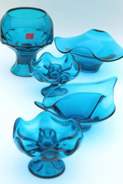 vintage Viking bluenique aqua blue art glass collection, bowls, candle holders, vase