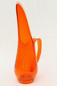 vintage Viking glass pitcher, orange Epic line 60s tall mod bottle shape