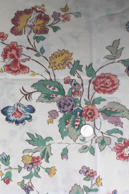 Vintage Waverly Schumacher Cotton Blend Fabric Sheets