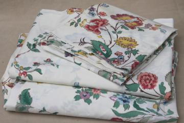 vintage Waverly Schumacher cotton blend fabric sheets, twin bed bedding w/ jacobean floral print
