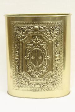 vintage Weibro metal wastebasket trash can gold brass color embossed gothic design