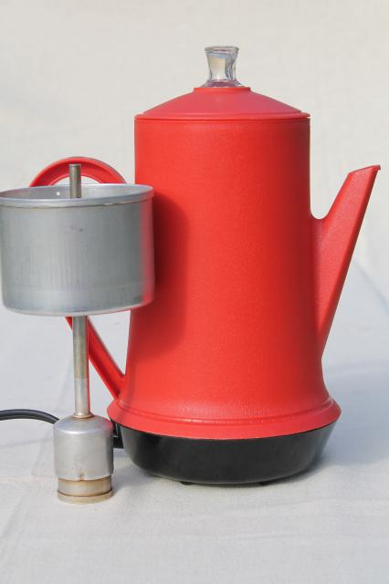 West Bend Coffee Maker Percolator : vintage West Bend red plastic percolator, automatic electric coffee maker