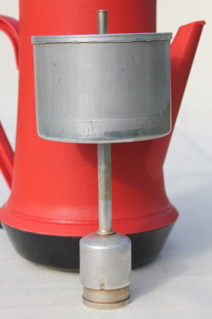 vintage West Bend red plastic percolator, automatic electric coffee maker